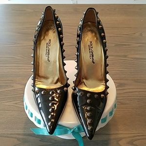 Dolce & Gabbana patent leather spike pumps